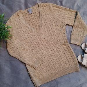 Ann Taylor Gold Metallic Wrap Sweater
